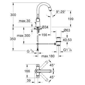 Wymiary techniczne baterii umywalkowej Grohe Grander 21107000-image_Grohe_21107000_3