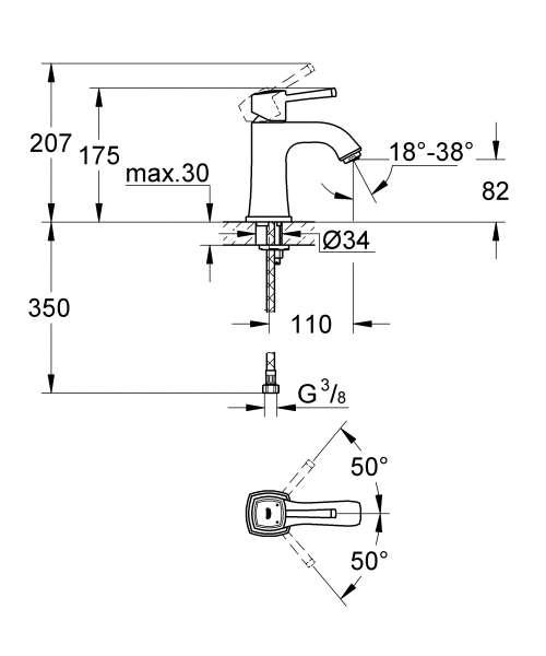 Wymiary techniczne baterii umywalkowej Grohe Grandera 23310000-image_Grohe_23310000_3