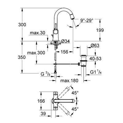 Wymiary techniczne baterii Grandera 21107IG0-image_Grohe_21107IG0_3