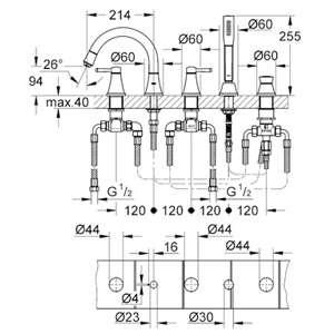 Wymiary techniczne baterii wannowej Grohe Grandera 19919000-image_Grohe_19919000_4
