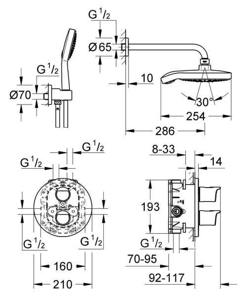Rysunek techniczny podtynkowego systemu prysznicowego Grohe Grohtherm 34283001-image_Grohe_34283001_4