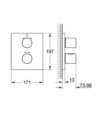 Wymiary techniczne białego termostatu wannowego Grohe Grohtherm 19567LS0-image_Grohe_19567LS0_2