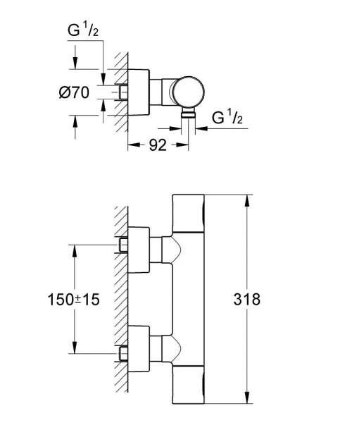 Wymiary prysznicowej baterii termostatycznej Grohe Grohtherm 3000 34274000-image_Grohe_34274000_3
