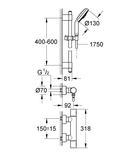 Wymiary zestawu prysznicowego i baterii Grohe Grohtherm 3000 Cosmopolitan 34275000-image_Grohe_34275000_3