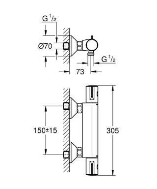 Wymiary techniczne baterii prysznicowej Grohe Grohtherm 34558000-image_Grohe_34558000_3