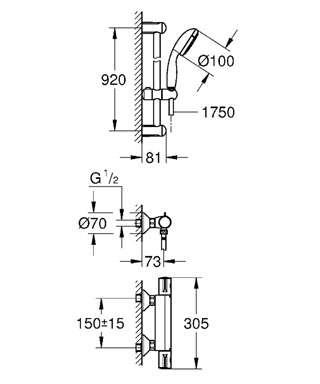Wymiary techniczne zestawu termstatycznego Grohe Grohtherm 800 3466001-image_Grohe_34566001_4