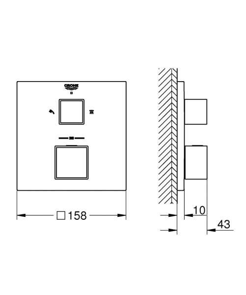 Wymiary termostatycznej baterii wannowej Grohe 24154000 -image_Grohe_24154000_3