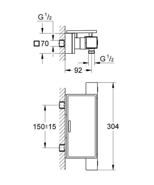 Rysunek techniczny baterii prysznicowej termostatycznej Grohe Cube 34491000 -image_Grohe_34491000_4