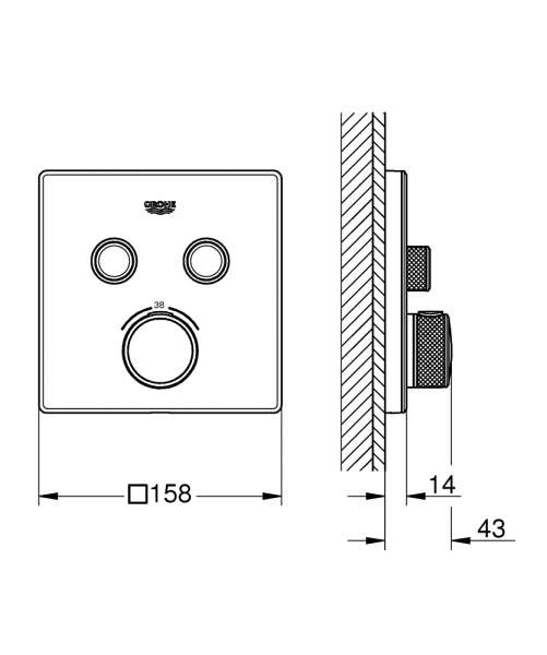 Rysunek techniczny termostatu do 2 odbiorników 29156LS0-image_Grohe_29156LS0_4