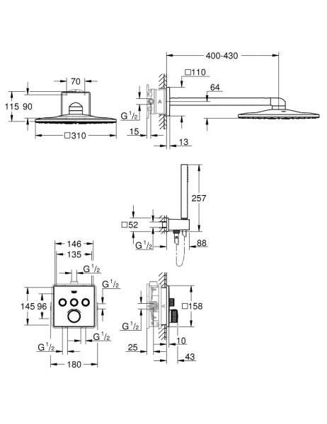 Wymiary techniczne termostatycznego zestaw podtynkowego Grohe Grohtherm SmartControl 34706000-image_Grohe_34706000_5