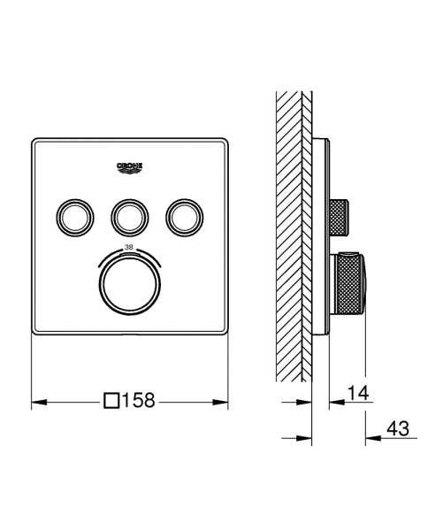 grohe smartcontrol rysunek techniczny 29157LS0 -image_Grohe_29157LS0_3