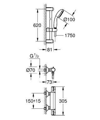Wymiary techniczne baterii prysznicowej Grohtherm 800 34565001 -image_Grohe_34565001_4