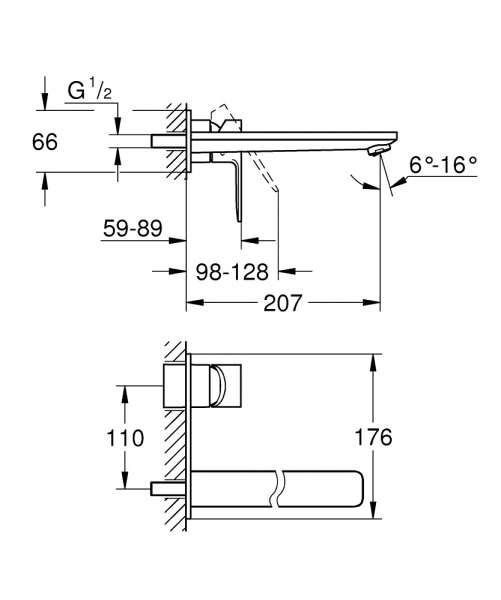 Wymiary techniczne baterii podtynkowej grohe Lineare 23444001-image_Grohe_23444001_3