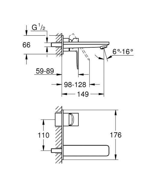 Wymiary techniczne baterii podtynkowej Grohe Lineare 19 409 001-image_Grohe_19409001_4