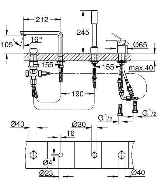Wymiary techniczne 4 otworowej baterii wannowej Grohe Lineare 19577001-image_Grohe_19577001_4