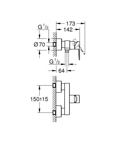 Dane techniczne natynkowej baterii prysznicowej Grohe Lineare -image_Grohe_33865DC1_2