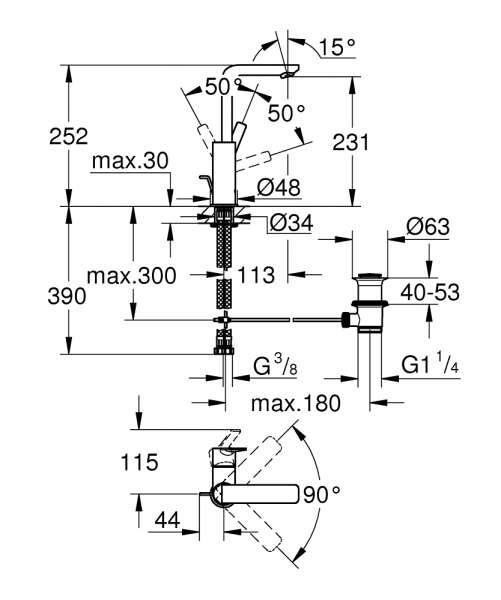 Rysunek techniczny baterii umywalkowej Grohe Lineare 23 296 001-image_Grohe_23296001_3