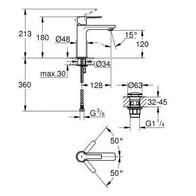 Rysunek techniczny baterii Lineare 23106 DC1-image_Grohe_23106DC1_3