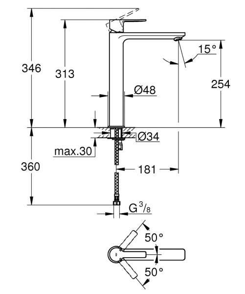 Wymiary techniczne baterii umywalkowej grohe Lineare 23 405 001-image_Grohe_23405001_3