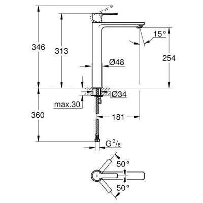 Rysunek techniczny wysokiej baterii Lineare 23405DC1-image_Grohe_23405DC1_3