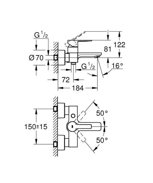 Rysunek techniczny baterii natynkowej do wanny grohe Lineare-image_Grohe_33849001_4