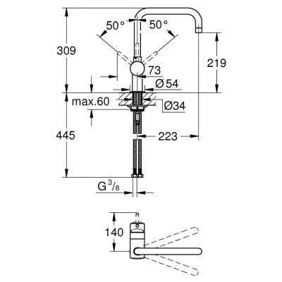Rysunek techniczny baterii kuchennej Minta 32488000-image_Grohe_32488000_3