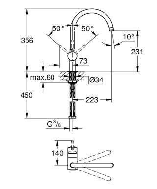 Wymiary techniczne baterii kuchennej Grohe Minta 32917000-image_Grohe_32917000_5