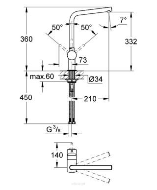Rysunek techniczny baterii Minta 31375A00 -image_Grohe__1