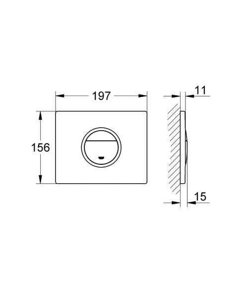 Wymiary przycisku uruchamiającego do wc Grohe Nova Cosmopolitan Light 38809000 poziom-image_Grohe_38809000_6