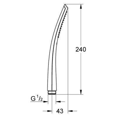 Wymiary techniczne słuchawki natryskowej Grohe Ondus 27184000-image_Grohe_27184000_3