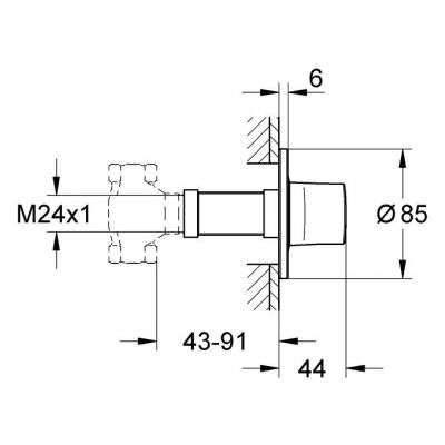 Wymiary techniczne elementu zewnętrznego Grohe Ondus -image_Grohe_19444000_3