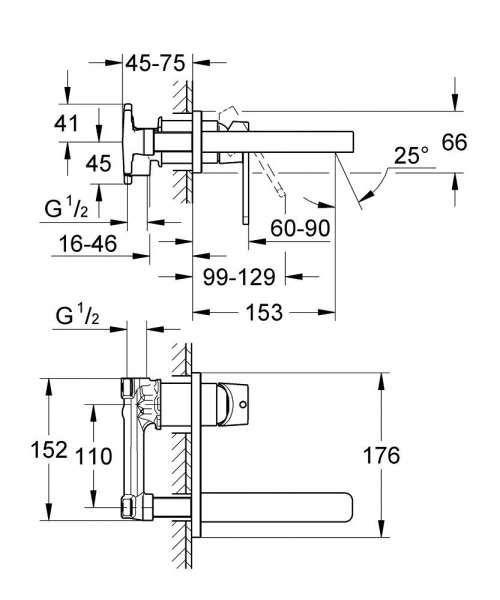 Wymiary techniczne podtynkowej baterii umywalkowej Grohe Quadra 19479000-image_Grohe_19479000_3
