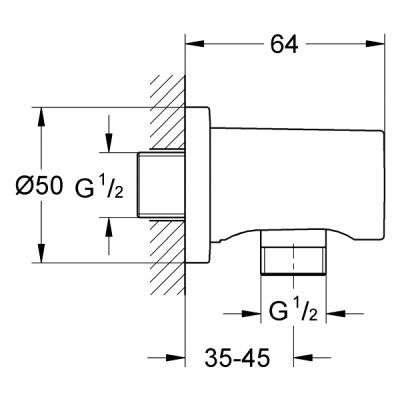 Wymiary techniczne kolanka przyłączeniowego-image_Grohe_27057AL0_3