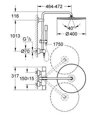 Wymiary techniczne zestawu Rainshower System 400 27174001-image_Grohe_27174001_3