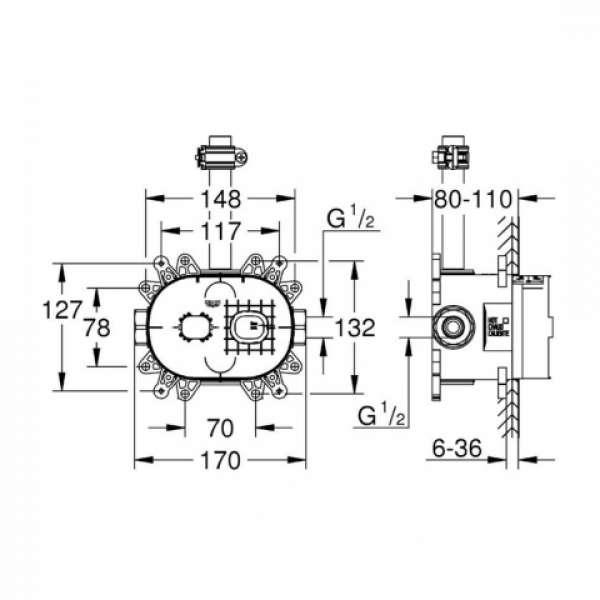 Wymiary techniczne elementu podtynkowego Grohe 26264000-image_Grohe_26264000_3
