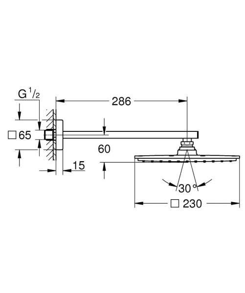 Wymiary techniczne zestawu do łazienki deszczownicy z ramieniem Grohe 26054000.-image_Grohe_26054000_4
