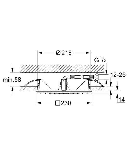 Wymiary techniczne deszczownicy Grohe Allure 27863000-image_Grohe_27863000_3