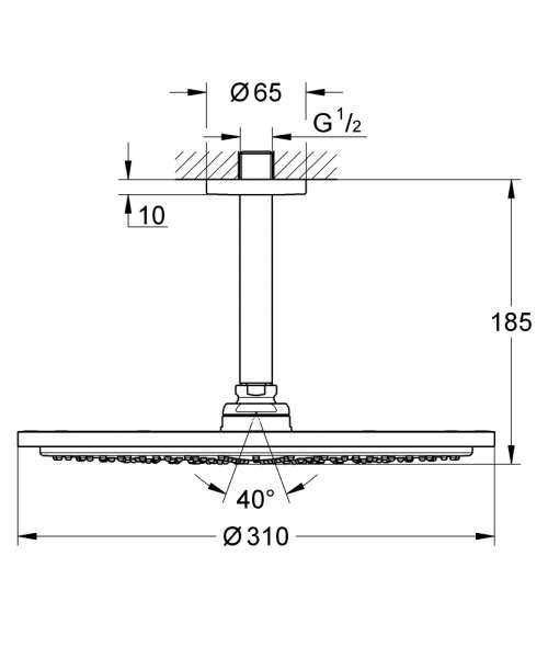 Rysunek techniczny zestawu prysznicowego Grohe Rainshower 26057000-image_Grohe_26057000_4