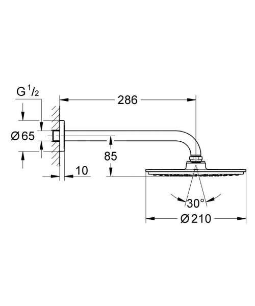 Rysunek techniczny zestawu prysznicowego Grohe Rainshower 26052000-image_Grohe_26052000_4