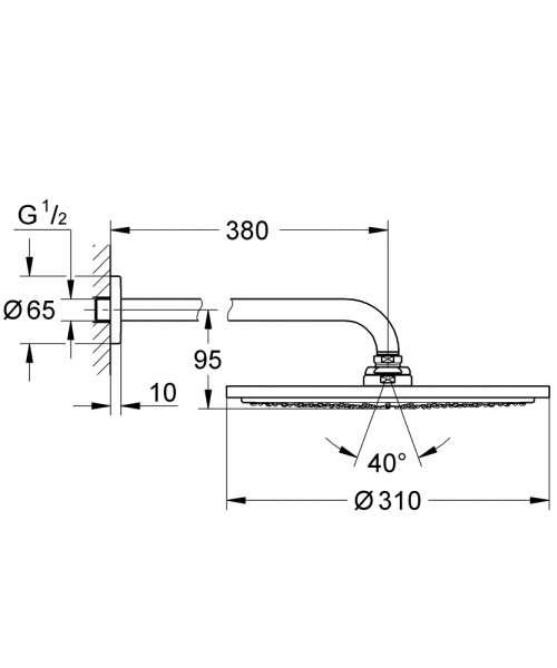 Wymiary techniczne deszczownicy Grohe 310 mm z ramieniem ściennym w wersji hard graphite 26066A00-image_Hansgrohe_27421000_2