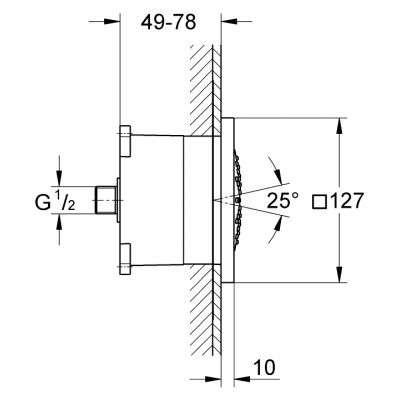 Rysunek techniczny dyszy bocznej Rainshower 27251 000-image_Grohe_27251000_3