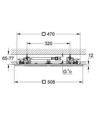 Wymiary techniczne deszczownicy Grohe Rainshower F-Series 27286000