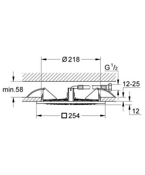 Wymiary techniczne deszczownicy Grohe Rainshower F-Series 27467000-image_Grohe_27467000_3