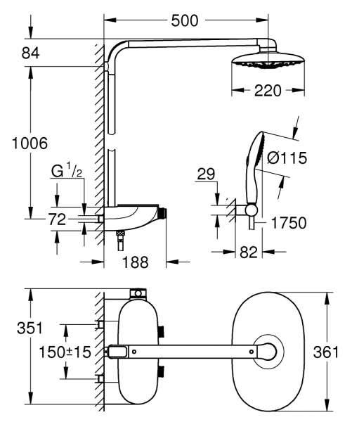 Wymiary techniczne zestawu grohe 26250000-image_Grohe_26250000_3