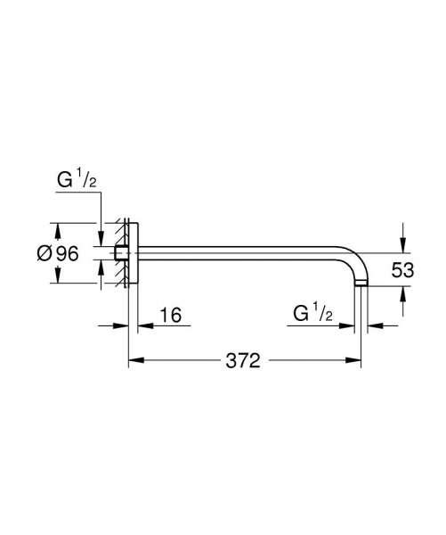 Wymiary techniczne ramienia natryskowego Grohe Rainshower 28982000-image_Grohe_28982000_3
