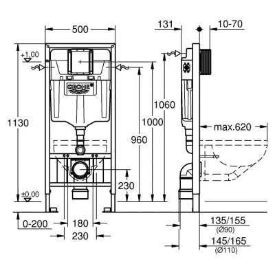 Wymiary techniczne stelaża podtynkowego wc Grohe Rapid 38897000 -image_Grohe_38897000_3