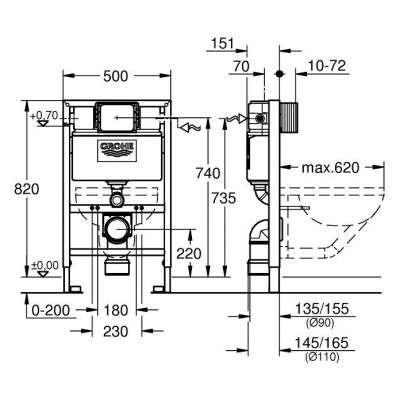 Wymiary techniczne stelaża podtynkowego wc Grohe Rapid 38526000 -image_Grohe_38526000_3