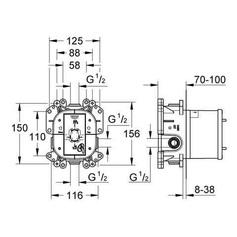 Wymiary techniczne elementu podtynkowego Grohe 35501000-image_Grohe_35501000_4