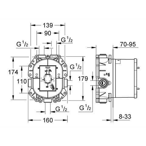 Wymiary techniczne elementu podtynkowego Grohe Rapido T 35500000-image_Grohe_35500000_5