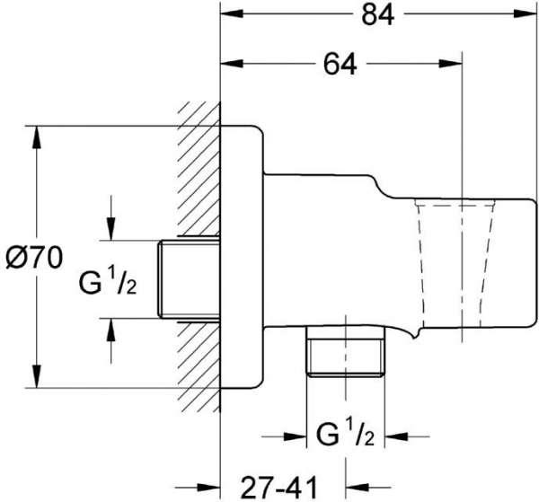 Rysunek techniczny kolanka przyłączeniowego Grohe Relexa 28628000-image_Grohe_28628000_3